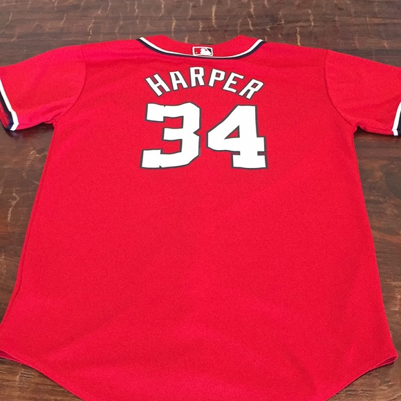 new concept 39850 788ff Youth XL Majestic Bryce Harper Nationals jersey